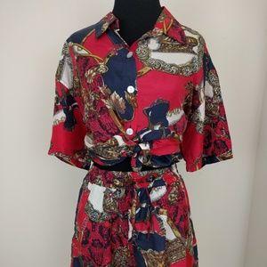 Vintage 1980s Silk high waisted Short Top Set sz m